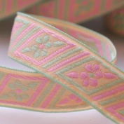 Neotrims 2cm Pretty Floral Folk Pastel Ribbon Online By The Yard Embroidery Look. Pastel Daisy Jacquard Ribbons Braids Crafts Sewing Trims, 4 Different colours available, Craft Projects ribbon shop, wholesale trimmings. 1 Reel= 16.4 Metres