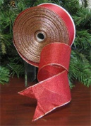 #40 Red Sheer Frost Wired Holiday Ribbon [54653]