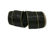 Renaissance 2000 Ribbon, 6.4cm , Gold Edge, Black