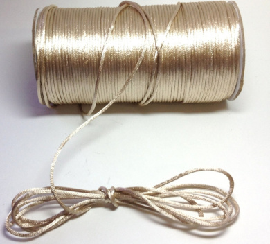 """200 Yards(600 Feet) - 2mm(1/16"""") Toffee/Tan Satin Rattail Cord Chinese/china Knot Rat Tail Jewellery Braid 100% Polyester"""