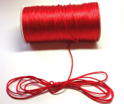 """200 Yards(600 Feet) - 2mm(1/16"""") Red Satin Rattail Cord Chinese/china Knot Rat Tail Jewellery Braid 100% Polyester"""