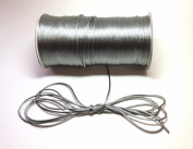 """200 Yards(600 Feet) Silver/Grey- 2mm(1/16"""") Satin Rattail Cord Chinese/china Knot Rat Tail Jewellery Braid 100% Polyester"""
