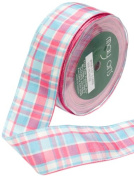 May Arts 3.8cm Wide Ribbon, Pink and Blue Plaid