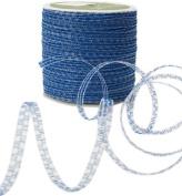 May Arts 0.3cm Wide Ribbon, Royal Blue Curly Sparkling