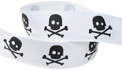 HipGirl 2.2cm Skull Cross Bone, Pirates, Halloween Grosgrain Ribbon
