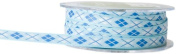 May Arts 1cm Wide Ribbon, Blue and White Argyle