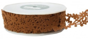 May Arts 3.8cm Wide Ribbon, Brown Floral Felt