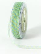 May Arts 0.6cm Wide Ribbon, Blue and Yellow Sheer Squares