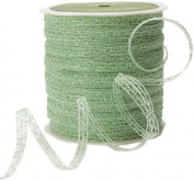 May Arts 0.3cm Wide Ribbon, Light Green Curly Sparkling