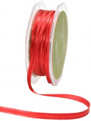 May Arts 0.6cm Wide Ribbon, Red Satin with Centre Band
