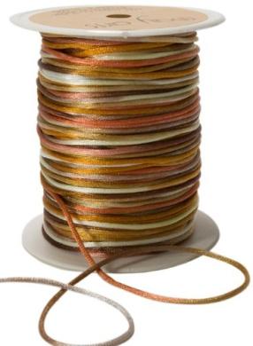 May Arts Ribbon, Brown and Gold Satin String