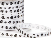 Single Faced Satin Paw Print Ribbon 0.6cm White with Black Paw Print - 50 Yard Roll