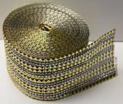 Gold Acrylic Rhinestone Pyramid and Clear Diamonds Mesh Ribbon, Wedding Ribbon, Nappy Cake Ribbon, 12cm X 10 Yards, 24 Row, 1 Roll
