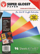 Hygloss Super Glossy Paper 17cm . x 22cm . 12 colours pack of 96 [PACK OF 2 ]