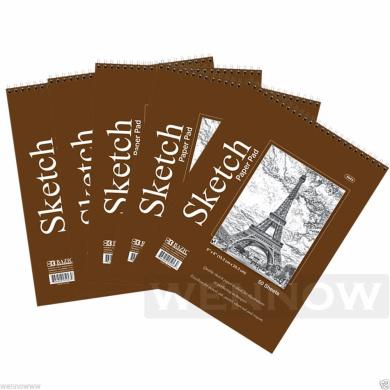 Wennow 5 Pcs 50 sheets 15cm x 20cm Top Bound Spiral Premium Quality Sketch Book Paper Pad