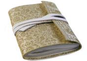 Sari Silk White Gold Handmade Journal, 100% Cotton Pages