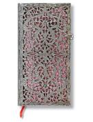 Paperblanks Silver Filigree Journals blush pink Slim, 9.5cm . x 18cm . 208 pages, lined