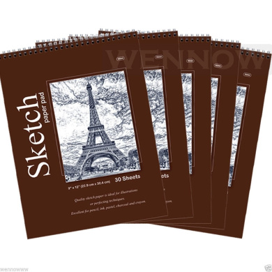"""Wennow """"9"""""""" × 12"""""""" (22.8cm × 30.4 cm) 30 Sheets Top Quality Sketch Book Paper Pad Set of 5 """""""