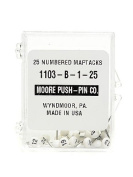 Moore Numbered Map Tacks large numbers 1-25 [PACK OF 3 ]