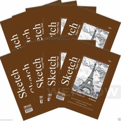 Wennow 10 Pcs 50 sheets 15cm x 20cm Top Bound Spiral Premium Quality Sketch Book Paper Pad