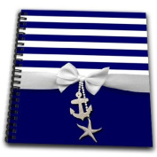 InspirationzStore Ribbon Designs - Nautical navy blue and white stripes - 2D ribbon bow graphic and printed anchor and starfish charms - Drawing Book