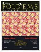 Yasutomo Fold'ems Origami Paper 10 chiyogami folk patterns 12cm . pack of 40