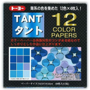 Japanese Tant Origami Paper- 12 Shades of Blue 15cm Square