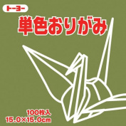 Toyo Origami Paper Single Colour - Olive - 15cm, 100 Sheets