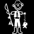 My Family Car Stick Figure Sticker Decal Father Fishing NF6