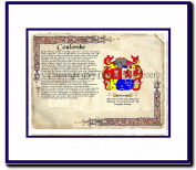 Coulombe Coat of Arms/ Family History Wood Framed