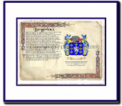 Bergerioux Coat of Arms/ Family History Wood Framed