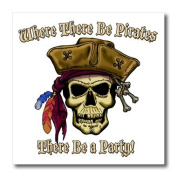 Jack of Arts Pirates - PIRATE SKULL WITH Where There Be Pirates - Iron on Heat Transfers