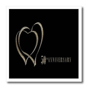 Beverly Turner Anniversary Design - Two Gold Hearts 50th Anniversary - Iron on Heat Transfers