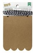 American Crafts 24-Piece Scallop DIY Shop Kraft Banner, 8.9cm by 11cm