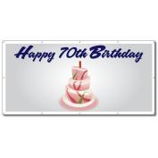 Happy 70th Birthday Cake - 3' x 6' Vinyl Banner