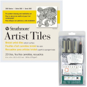 Strathmore Artist Tiles 4x4, 20 Pack, Bristol Vellum Surface 300 Series - For pattern drawing and meditative art - Pack of 20 Tiles and the Sakura Zentangle 9 Piece Set