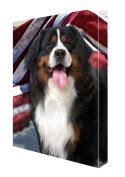 Bernese Mountain Dog Canvas 16 x 20 Patriotic