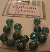 15 pc Turquoise Round with Metallic Inlay Beads - Fashion Glass by Cousin - #3475601