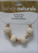 4 Pieces - Round Bone Beads - Fashion Naturals - 3484902