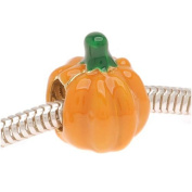 22K Gold Plated Orange Enamel Halloween Pumpkin - European Style Large Hole Bead