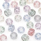 490 Assorted Glitter Transparent Pony Beads