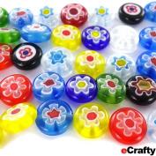 35 Millefiori Glass Beads Coins 10mm Rainbow Mix Single Flowers DIYJewelryCrafts