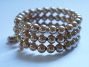 8mm Golden Glass Pearl 3 Row Cuff Bangle Bracelet
