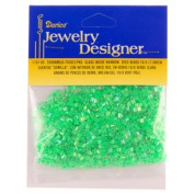 10/0 Seed Beads, Inside Rainbow, Lt Green, 20 Gramme Pkg