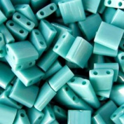 Turquoise Green Ab Matte Tila Beads 7.2 Gramme Tube By Miyuki Are a 2 Hole Flat Square Seed Bead 5x5mm 1.9mm Thick with .8mm Holes