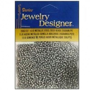 11/0 Glass Seed Beads, Metallic Steel, 20 Gramme Pkg