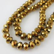 Crystal Glass Beads, 6x4mm Faceted Rondelle, Gold
