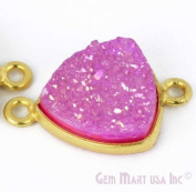 Natural Pink Druzy, Bezel Trillion Shape Connector, 12mm Trillion 24K Gold Plated, Double Bail 1pc