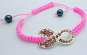 Breast Cancer Awareness Pink Rhinestone Ribbon Bracelet Charms
