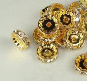 12mm Rhinestone Disc Beads Gold 20pcs